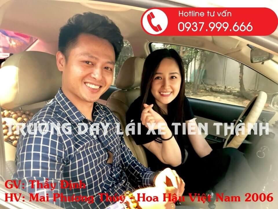 Hoa hậu Mai Phương Thuý tham gia học lái xe trường Tiến Thành