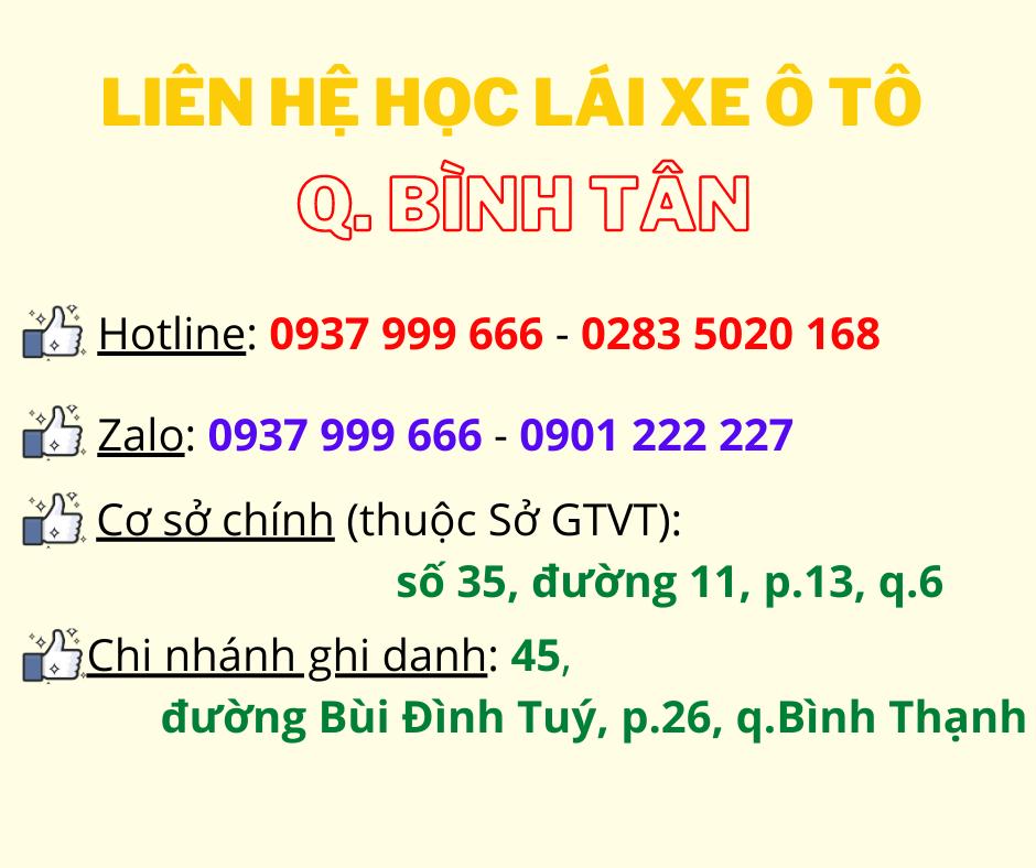 Liên hệ học lái xe ô tô Bình Tân - Tiến Thành