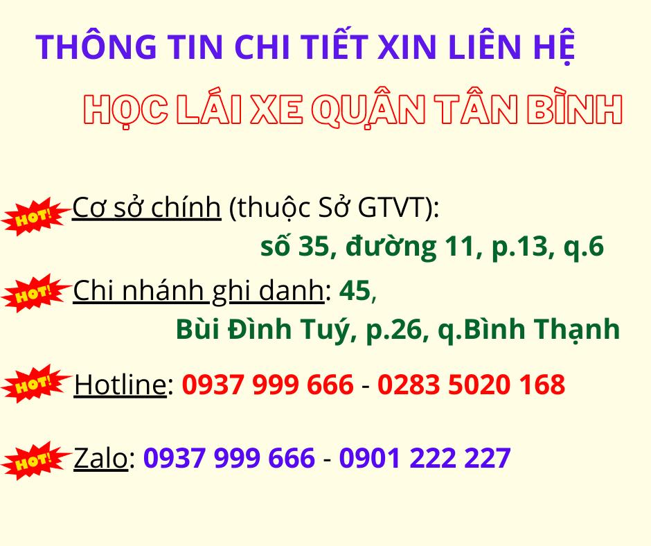 Thông tin liên hệ học lái xe Tân Bình
