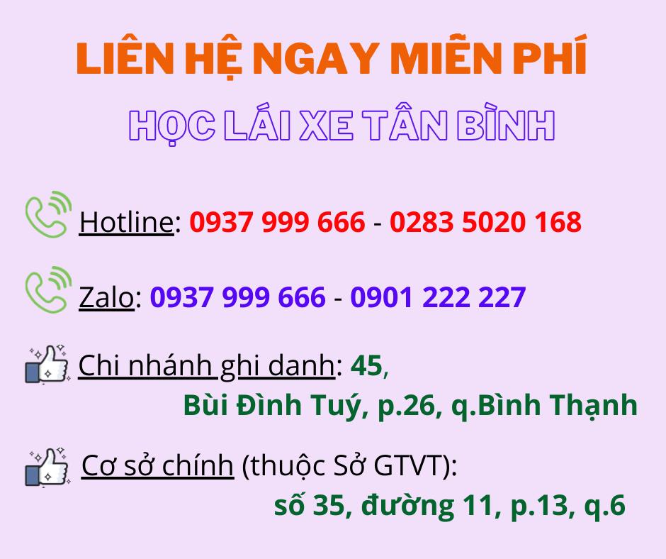 thông tin học lái xe quận Tân Bình
